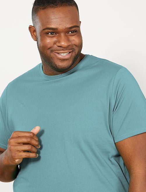 Camisa cómoda de punto                                                                                                                                                                             verde gris Tallas grandes hombre