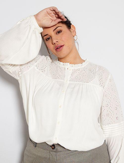 Camisa con bordado                             blanco nieve