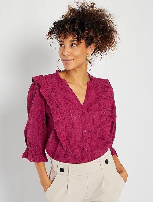 Camisa con bordado inglés                                         rojo