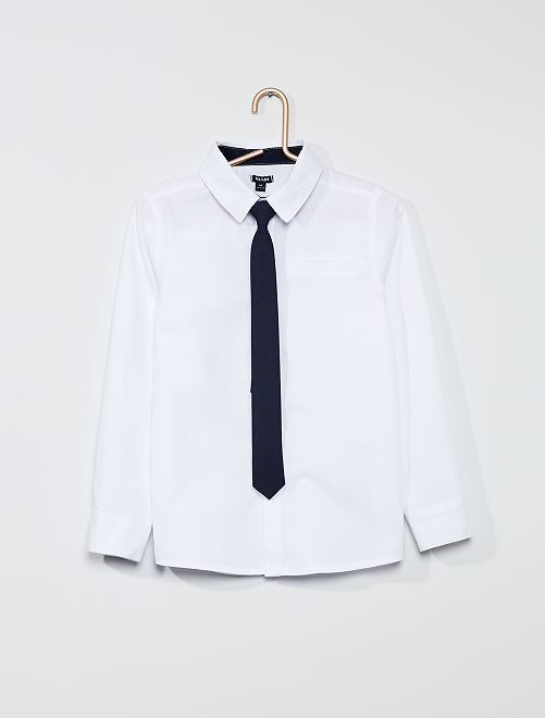 Camisa con corbata                             blanco