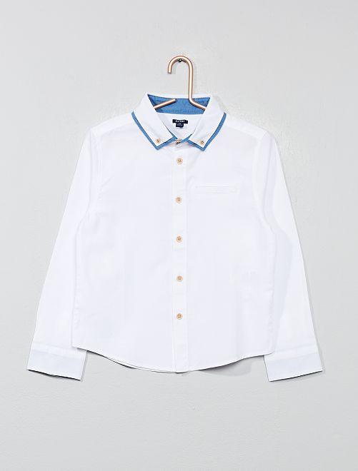 Camisa con cuello doble                                         blanco