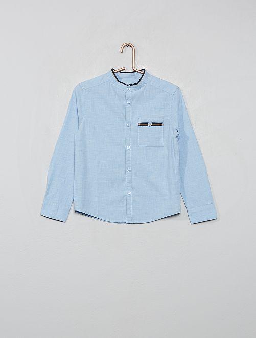 Camisa con cuello mao                             AZUL