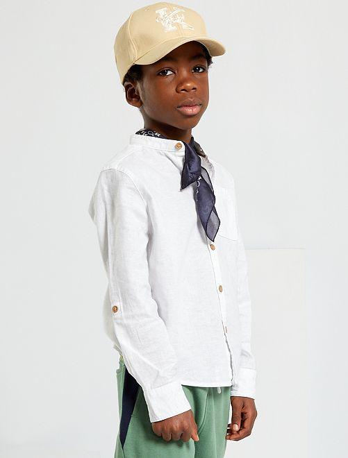 Camisa con cuello mao                                                     blanco