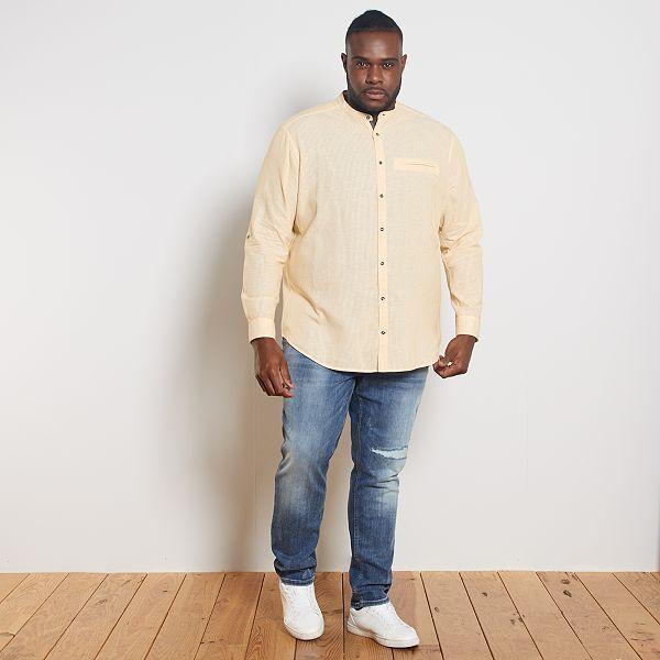 Camisa Con Cuello Mao De Lino Y Algodon Tallas Grandes Hombre Amarillo Kiabi 20 00