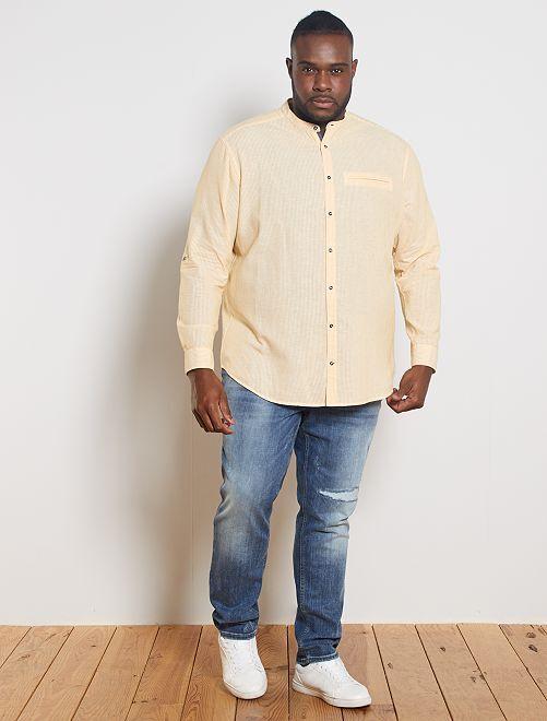 Camisa con cuello mao de lino y algodón                             AMARILLO