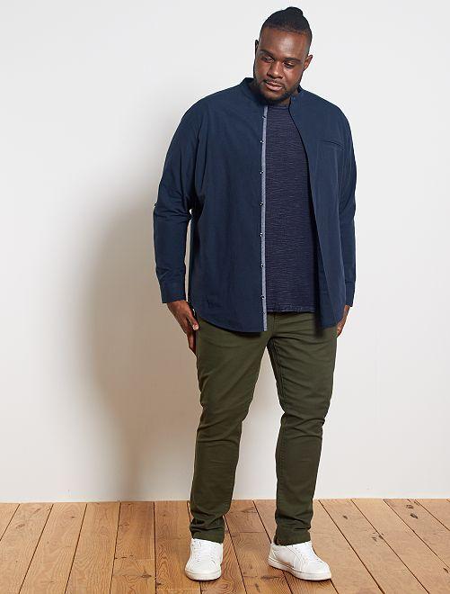 Camisa con cuello mao de lino y algodón                                                     azul navy