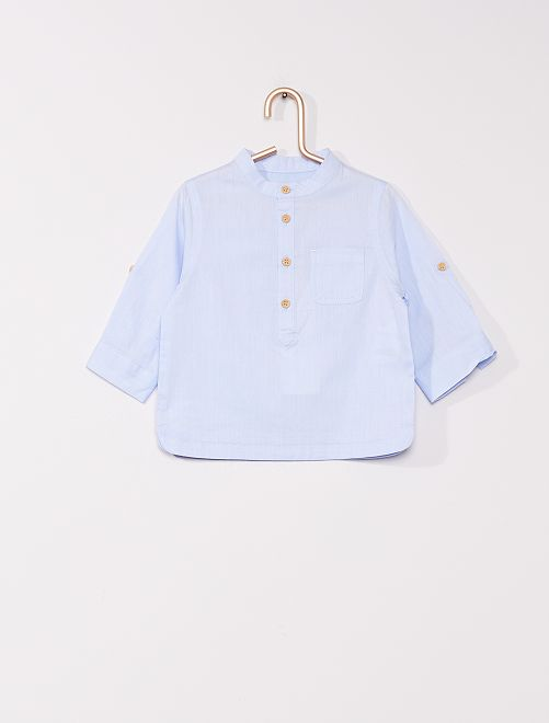 Camisa con cuello mao 'eco-concepción'                             AZUL