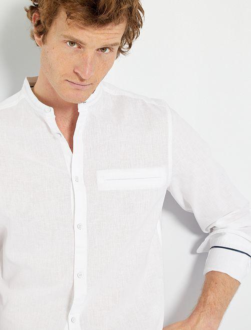 Camisa con cuello mao eco-concepción                                         blanco
