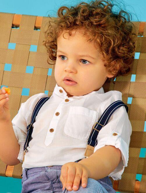 Camisa con cuello panadero 'eco-concepción'                     BLANCO