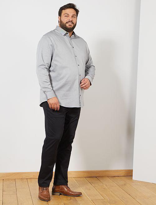 Camisa con efecto texturizado                             NEGRO