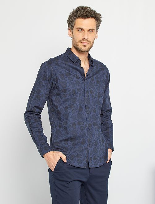 Camisa con estampado de cachemir                                         AZUL