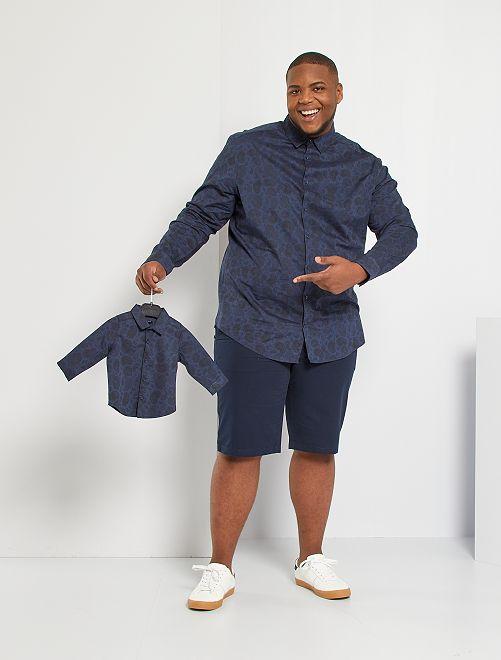 Camisa con estampado de cachemira                                         AZUL