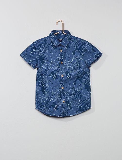 Camisa con estampado de 'pulpo'                                                     AZUL Chico