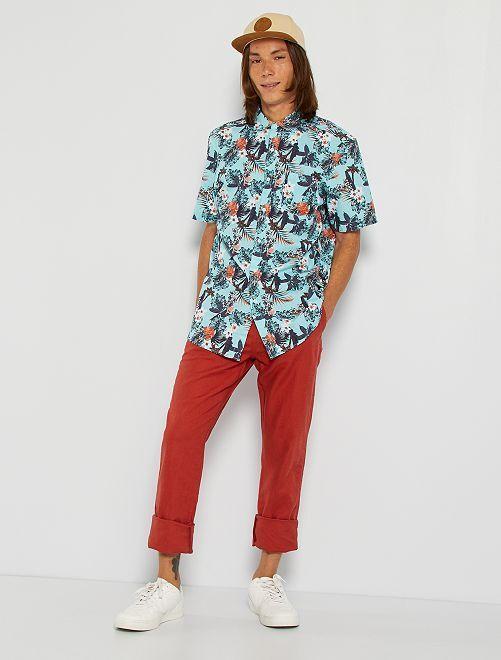 Camisa con estampado floral                                                                                                                                                     AZUL