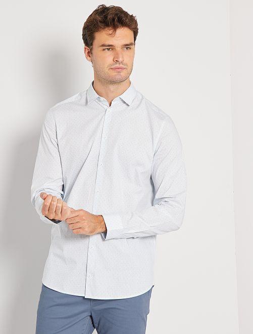 Camisa con micromotivo + 1,90 m                                         AZUL