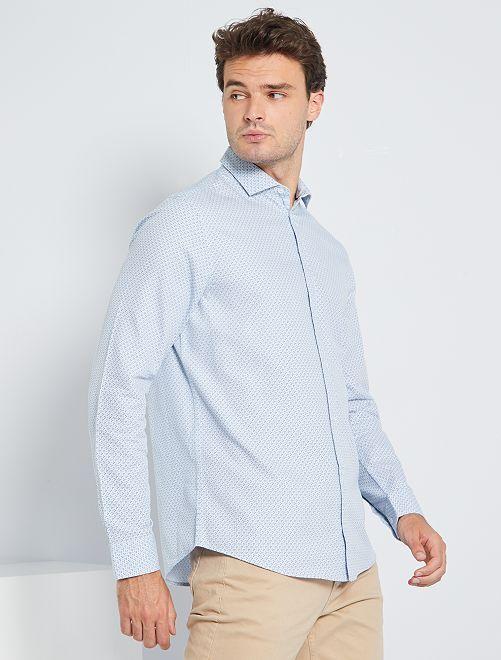 Camisa con micromotivo + 1,90 m                                         BLANCO