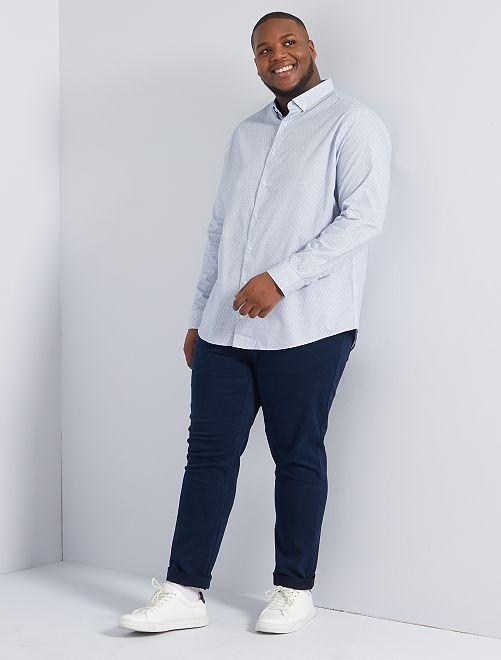 Camisa con micromotivo                             AZUL