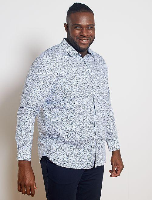 Camisa con micromotivo floral                             BLANCO