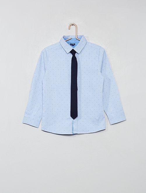 Camisa con micromotivos + corbata                                         azul Chico