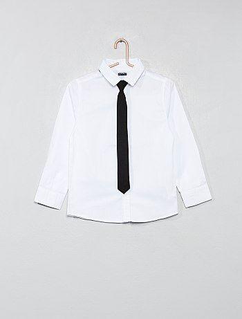 b6d7d3aafcf Niño 3-12 años - Camisa con micromotivos + corbata - Kiabi
