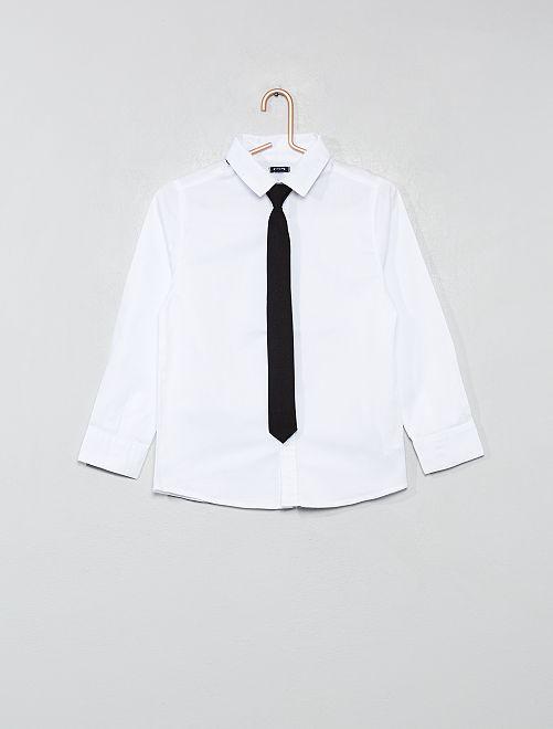 Camisa con micromotivos + corbata                                         blanco Chico