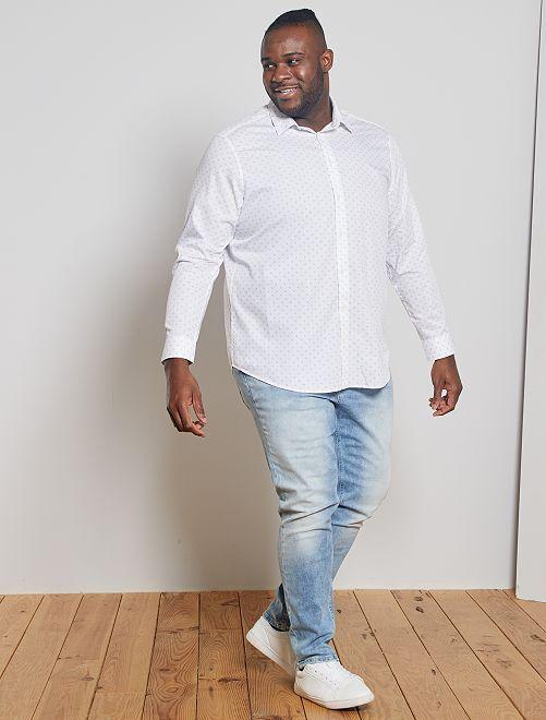 Camisa con micromotivos de algodón puro                             BLANCO
