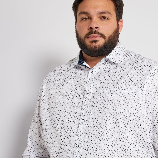 Camisa Con Motivo Floral Tallas Grandes Hombre Blanco Kiabi 22 00