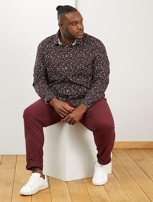 Camisa con motivo floral                                         burdeos