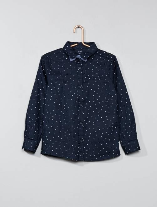 Camisa con motivos y pajarita                             azul Chico