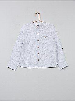 Camisas - Camisa con pequeños motivos y cuello mao - Kiabi