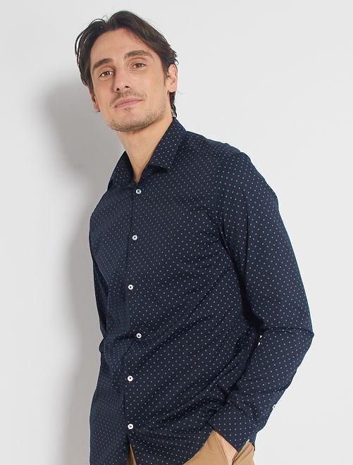 Camisa corte recto de popelina                                                         AZUL
