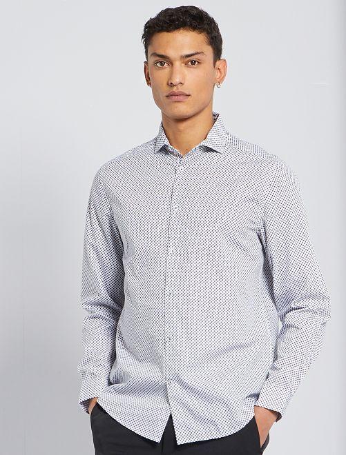 Camisa corte recto de popelina                                                                 BEIGE