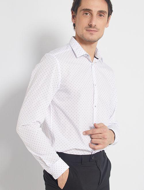 Camisa corte recto de popelina                                                     BLANCO
