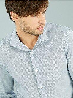 Camisas ciudad - Camisa corte recto popelina estampada con pequeños motivos