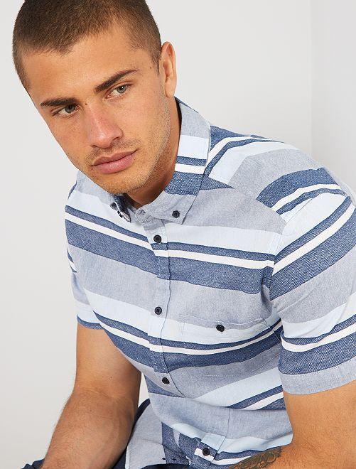 Camisa de algodón a rayas                                         AZUL Hombre