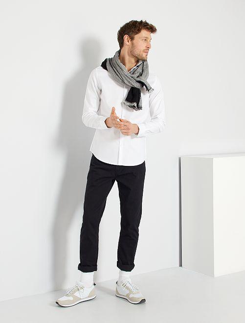 Camisa de algodón a rayas                                         blanco