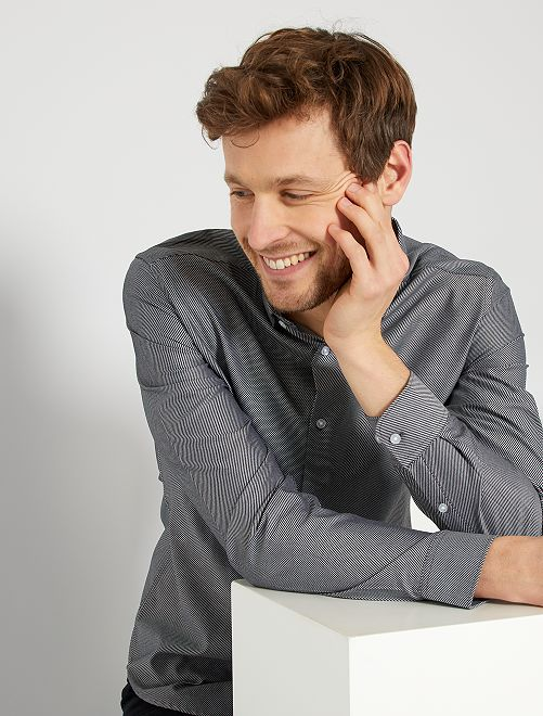 Camisa de algodón a rayas                                         negro