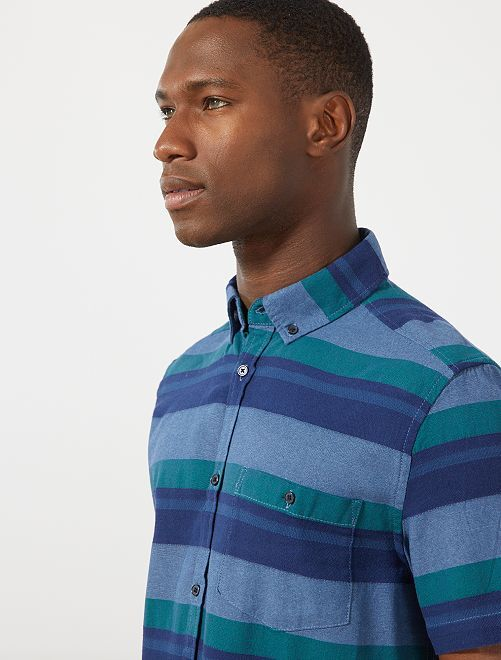 Camisa de algodón a rayas                                         VERDE Hombre