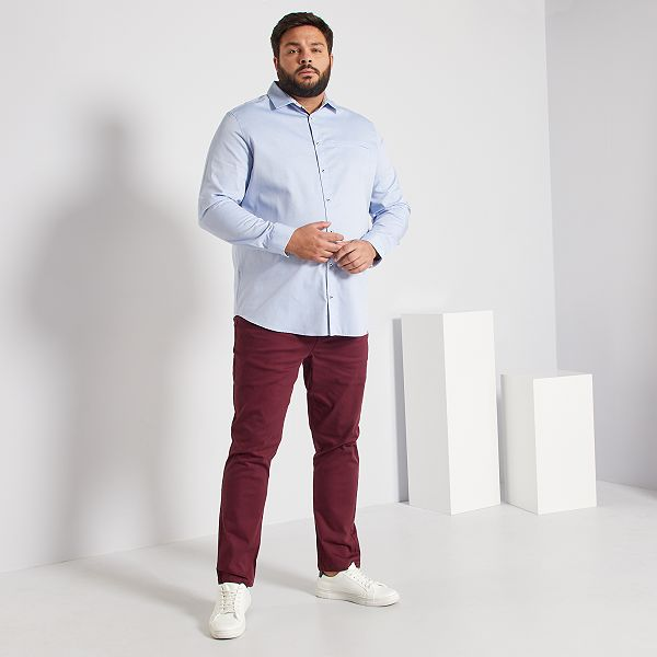 Camisa De Algodon Tallas Grandes Hombre Azul Kiabi 22 00