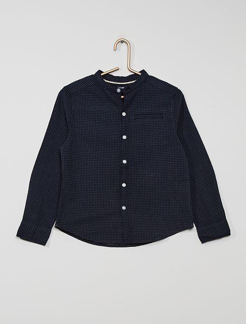 Camisa de algodón con cuello mao                     azul