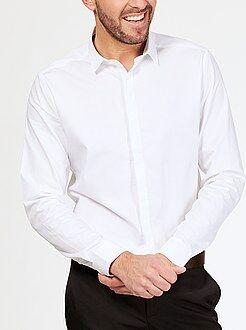 Camisa de algodón con motivo tejido y corte ajustado