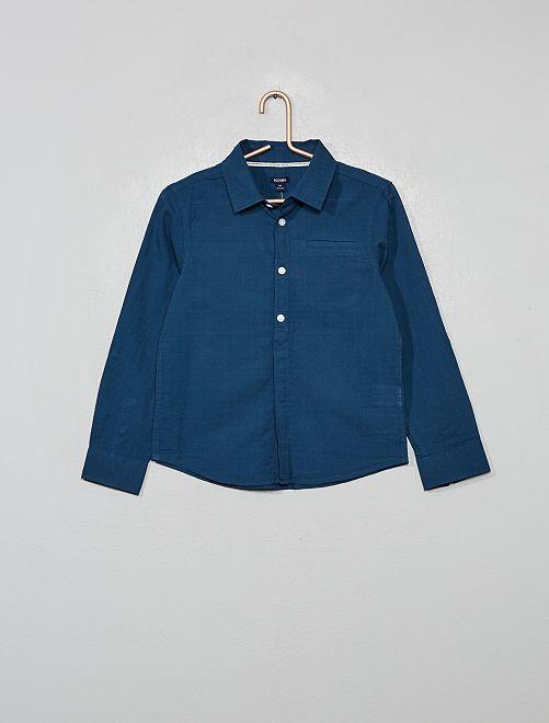 Camisa de algodón con relieve                                                     AZUL