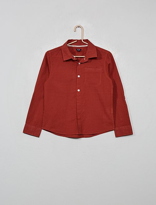 Camisa de algodón con relieve                                                     MARRON