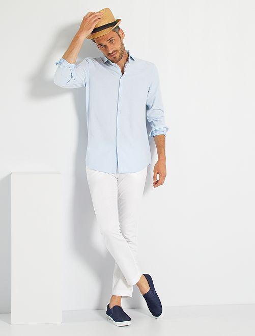 Camisa de algodón con textura                             azul