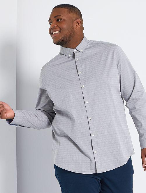 Camisa de algodón con textura                                                     GRIS