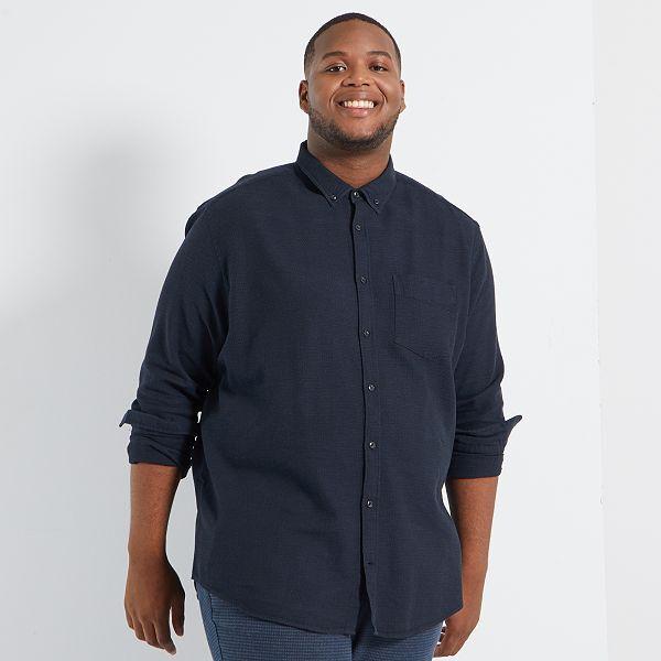 Camisa De Algodon Con Textura Tallas Grandes Hombre Negro Kiabi 20 00