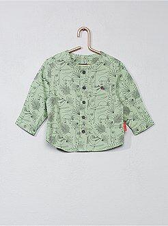 Niño 0-36 meses - Camisa de algodón estampada con cuello mao - Kiabi