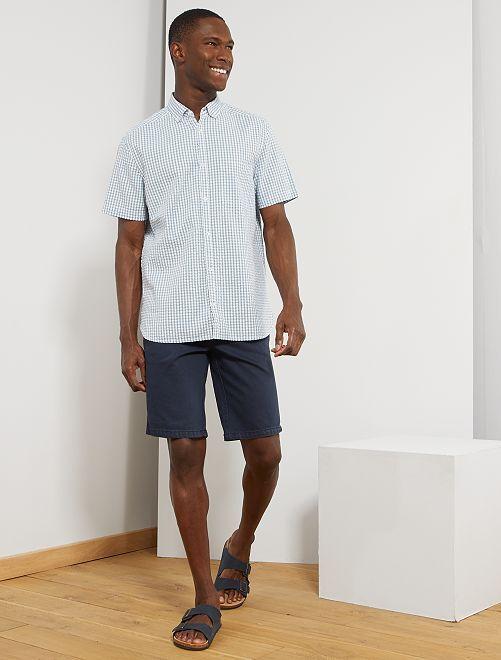 Camisa de algodón gofrado                                                                 AZUL Hombre