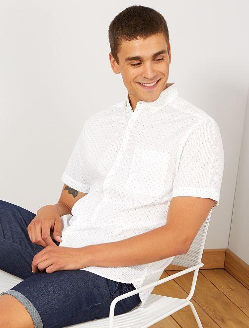 Camisa de algodón gofrado                                                                 blanco