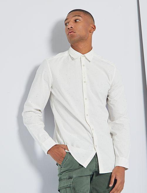 Camisa de algodón moteada                             BLANCO